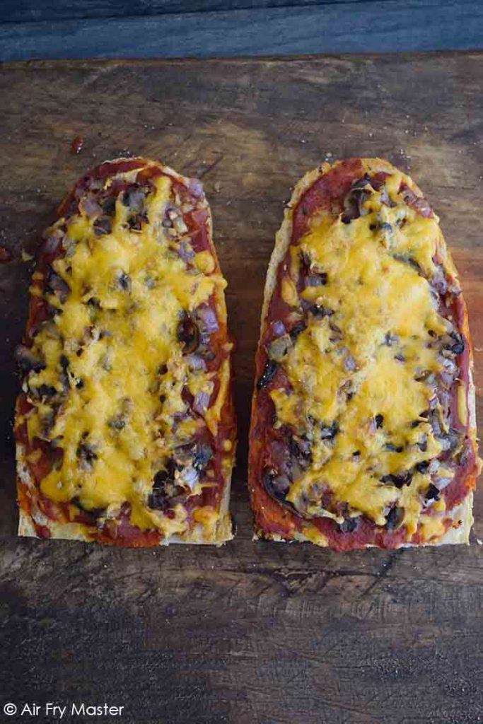 And overhead view of these Air Fryer French Bread Pizzas.