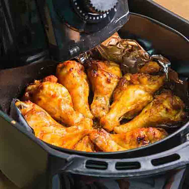 Grill BBQ Chicken Legs in oven air fryer.healthy cooking without oil