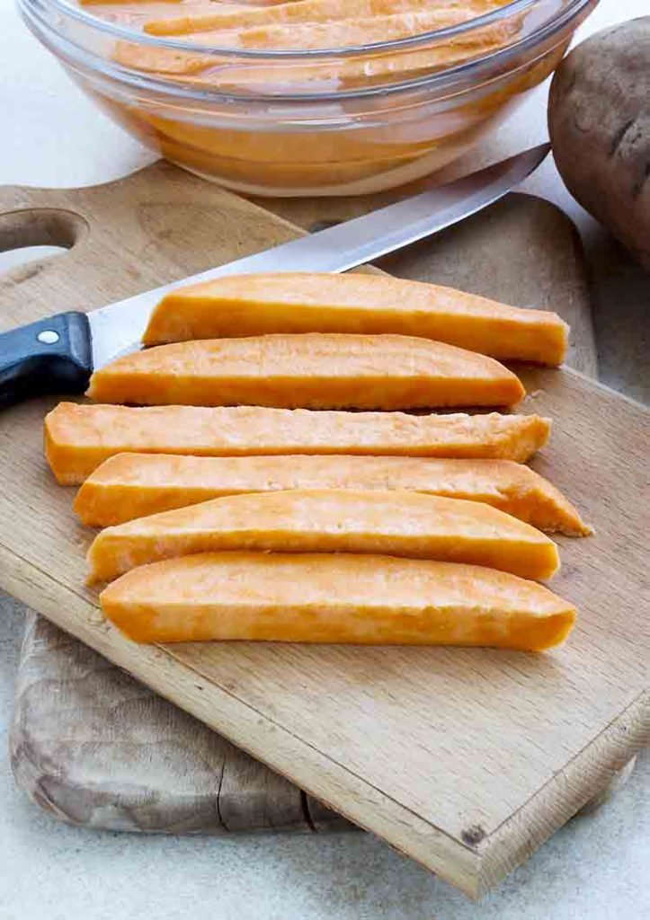 Raw, sliced sweet potatoes