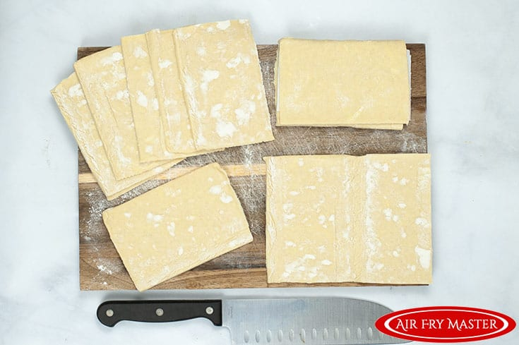 The pastry dough, cut to size.