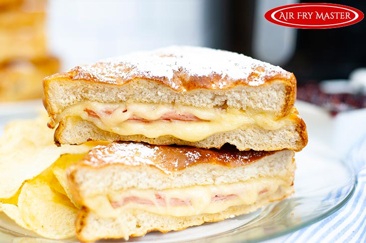 A side view of the finished Air Fryer Monte Cristo Sandwich.